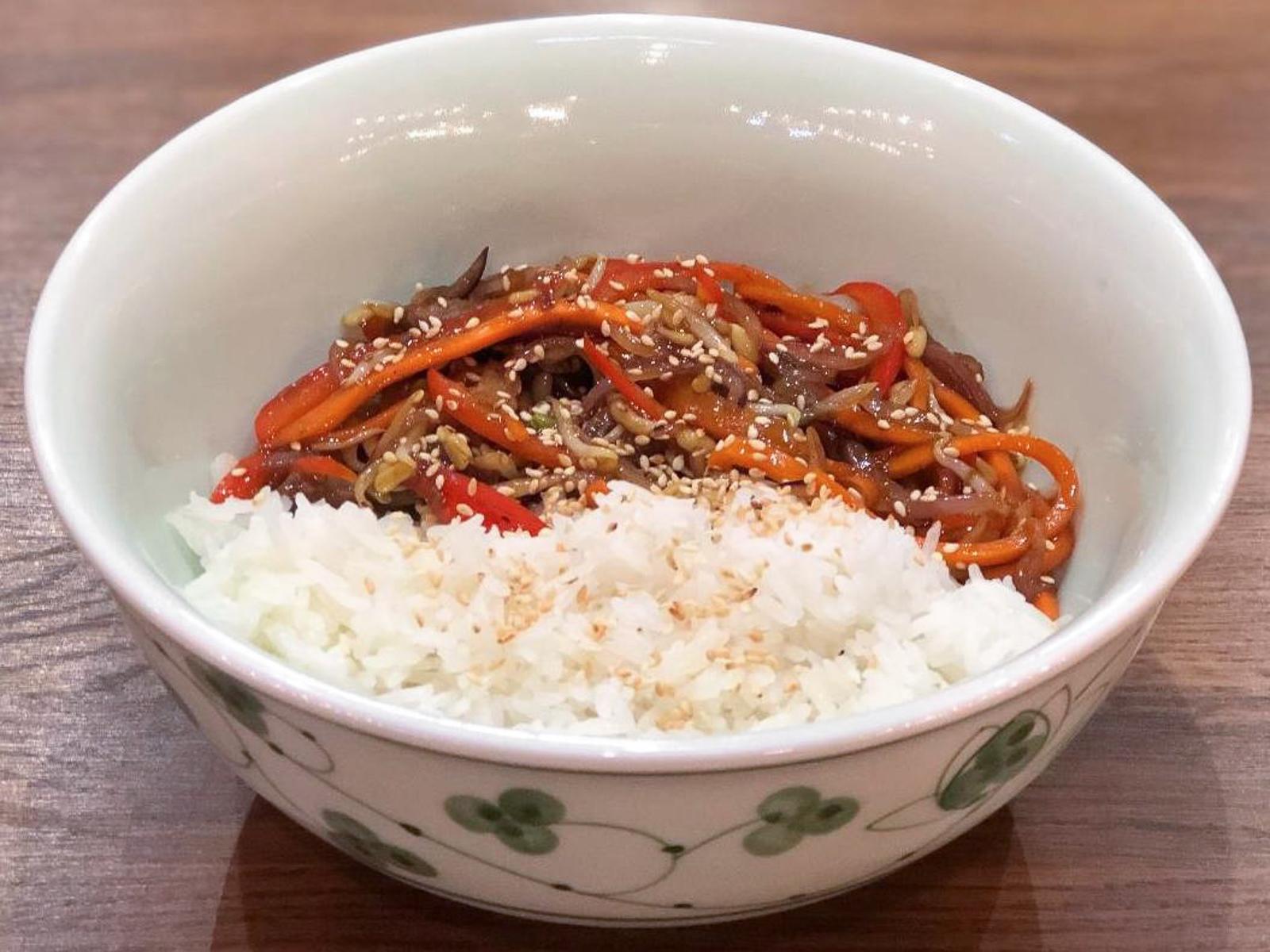 Паровой рис с овощами