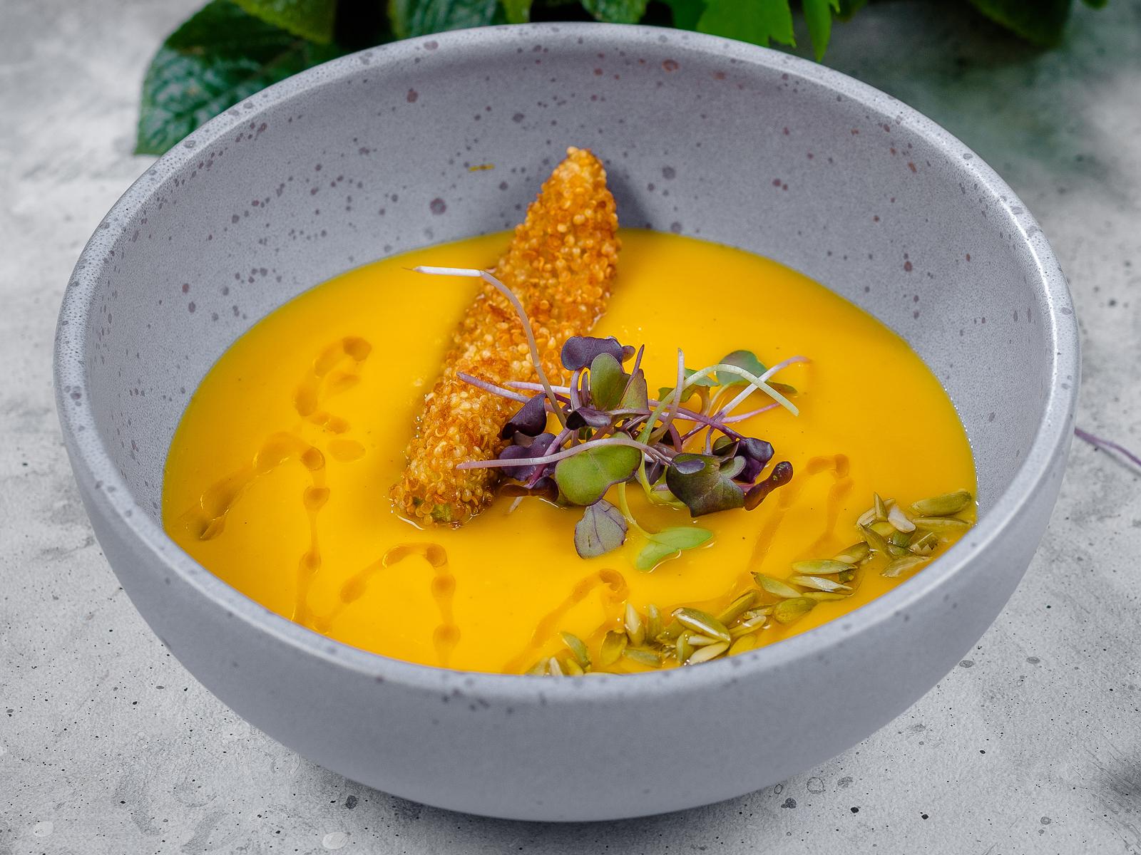 Крем суп из тыквы с хрустящим авокадо