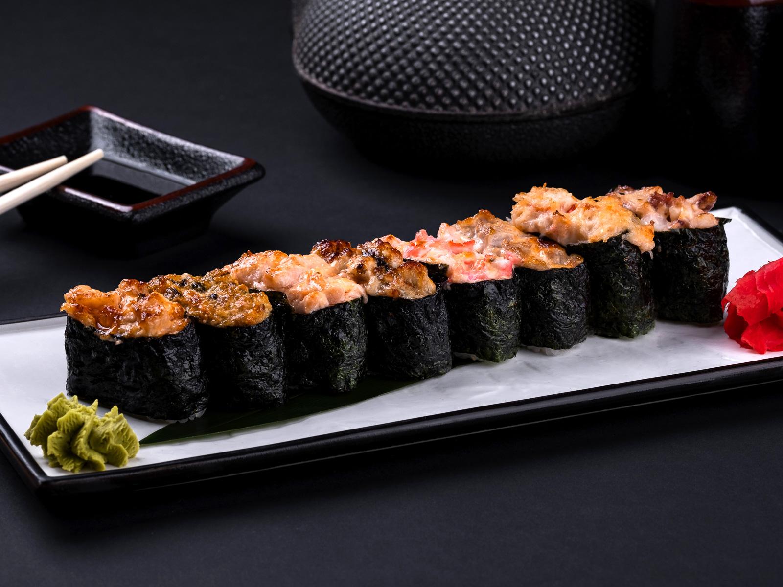 Запеченный гункан с осьминогом