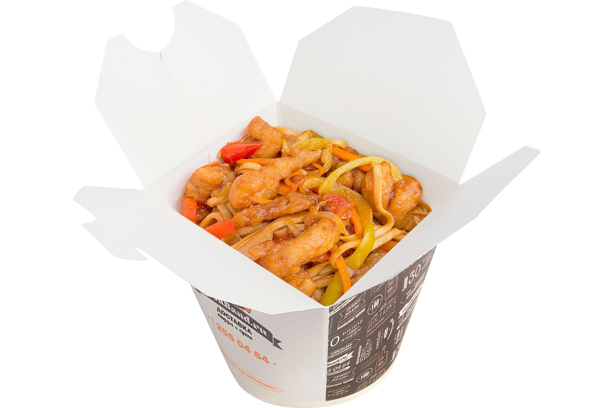 Удон с курицей по-пекински