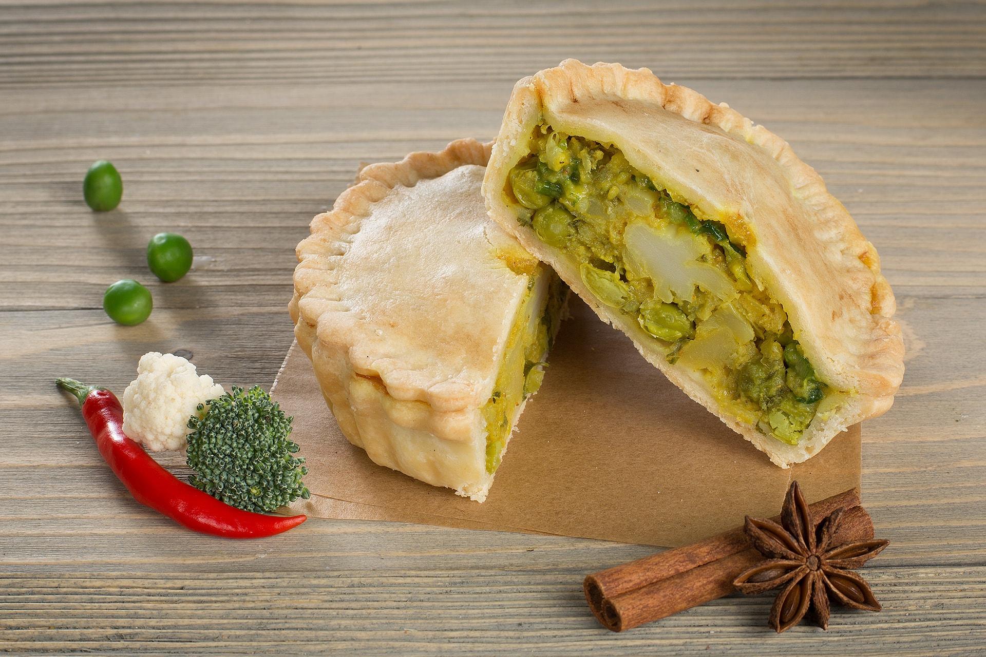 Постный пирог с овощами карри
