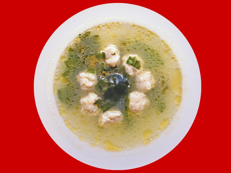 Суп с судаком и водорослями вакаме