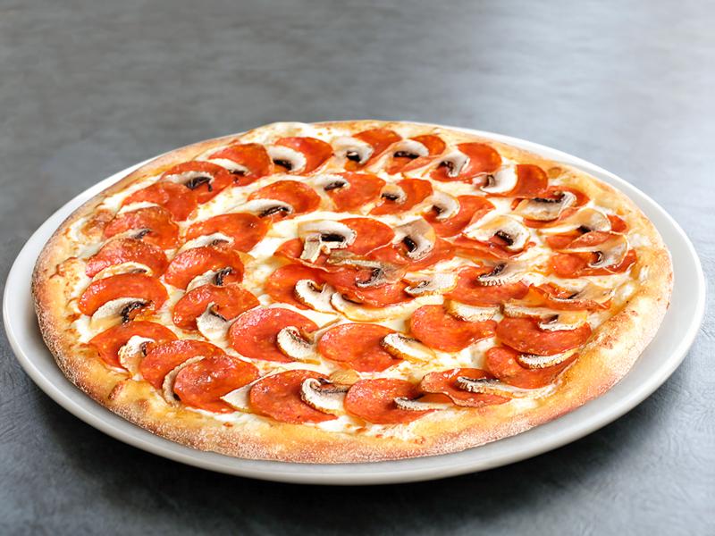 Пицца Пепперони и грибы маленькая