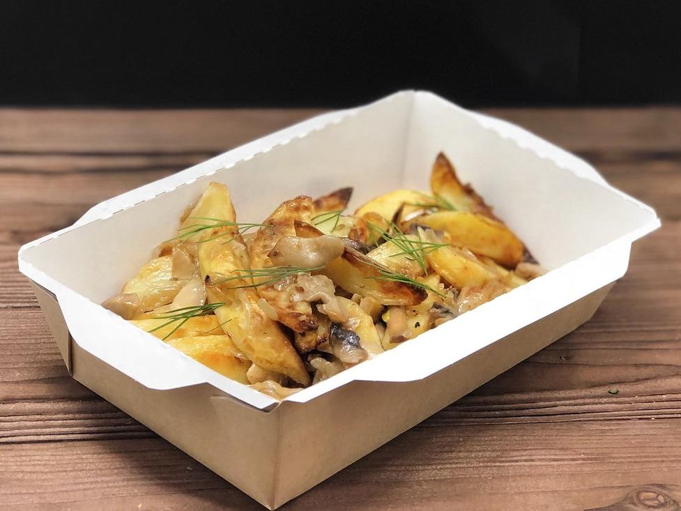 Картофель запеченый с грибами и луком