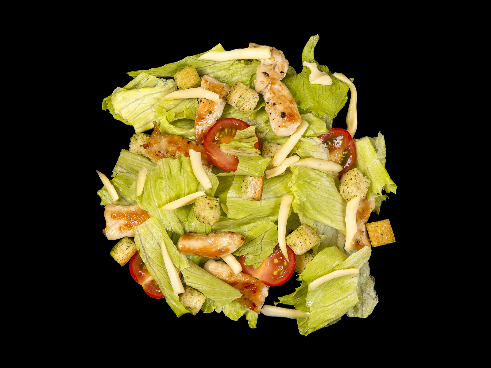 Теплый салат Цезарь с курицей