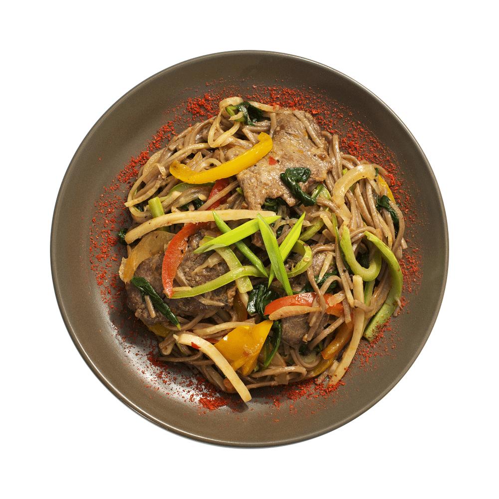 Китайская лапша гречневая с говядиной