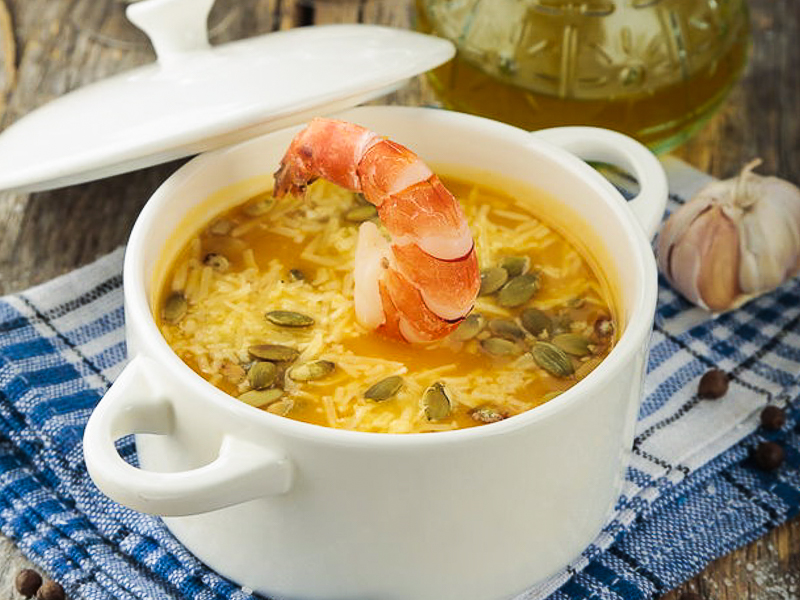 Суп-крем из тыквы с креветкой