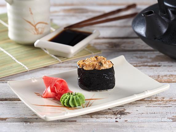 Острые суши с угрем/ васаби/ имбирь/ соевый соус