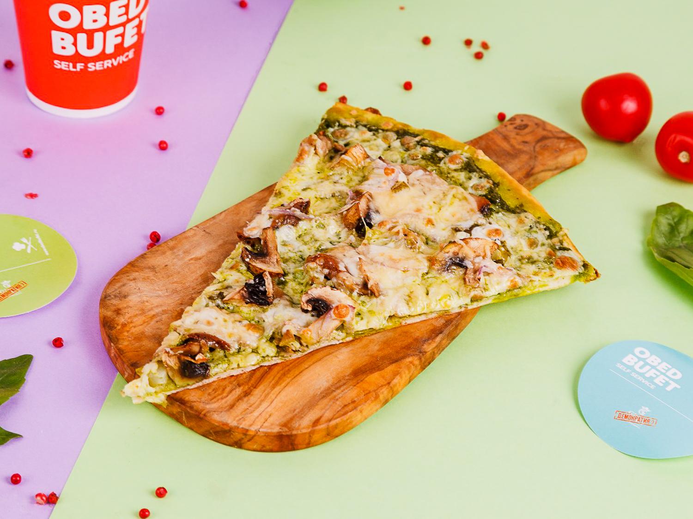 Пицца с телятиной, шампиньонами и соусом песто слайс