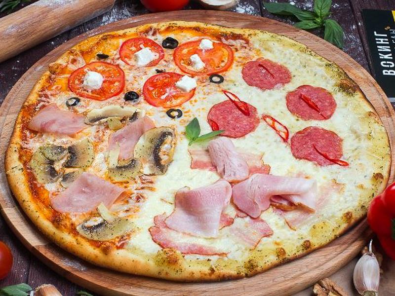 Пицца Четыре сезона на толстом тесте