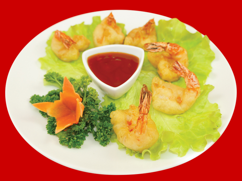 Креветки темпура с соусом сладкий чили