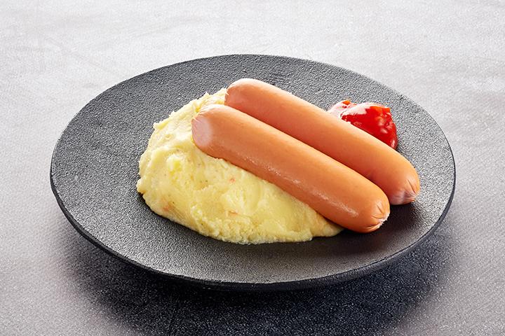Сосиски с гарниром и соусом на выбор