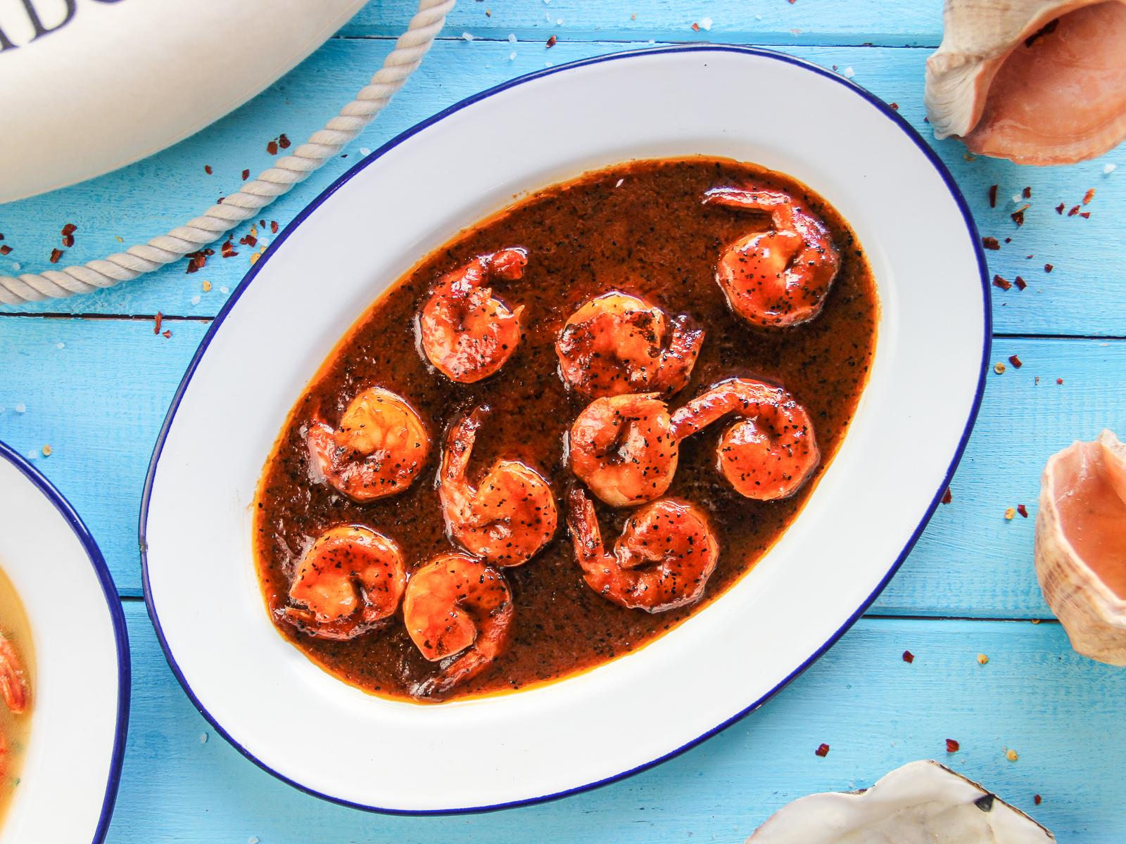 Креветки ванамей жареные в перечном соусе