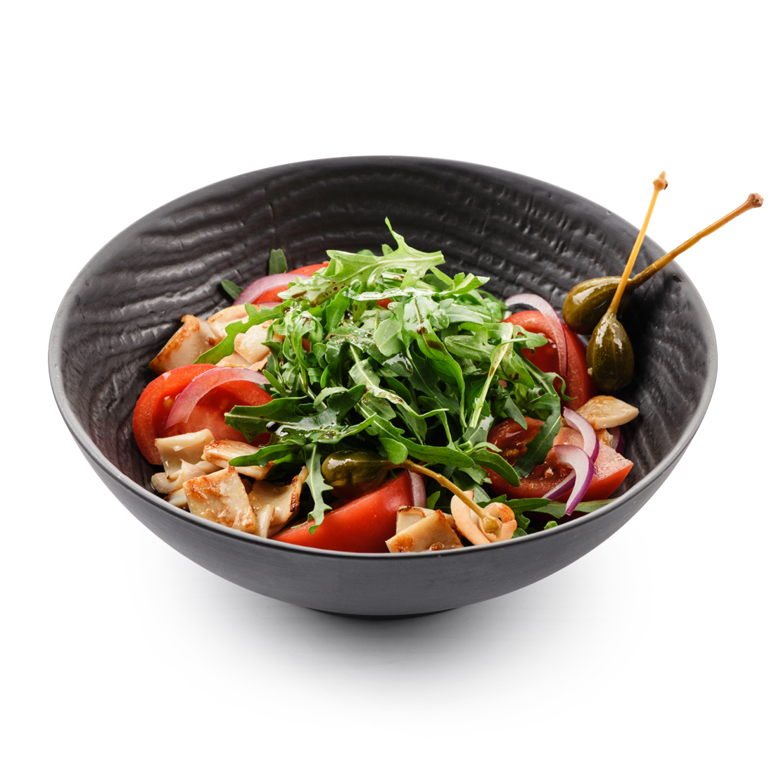 Теплый салат с командорским кальмаром
