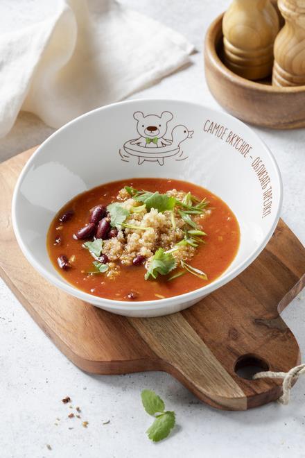 Густой томатный суп с фасолью и киноа
