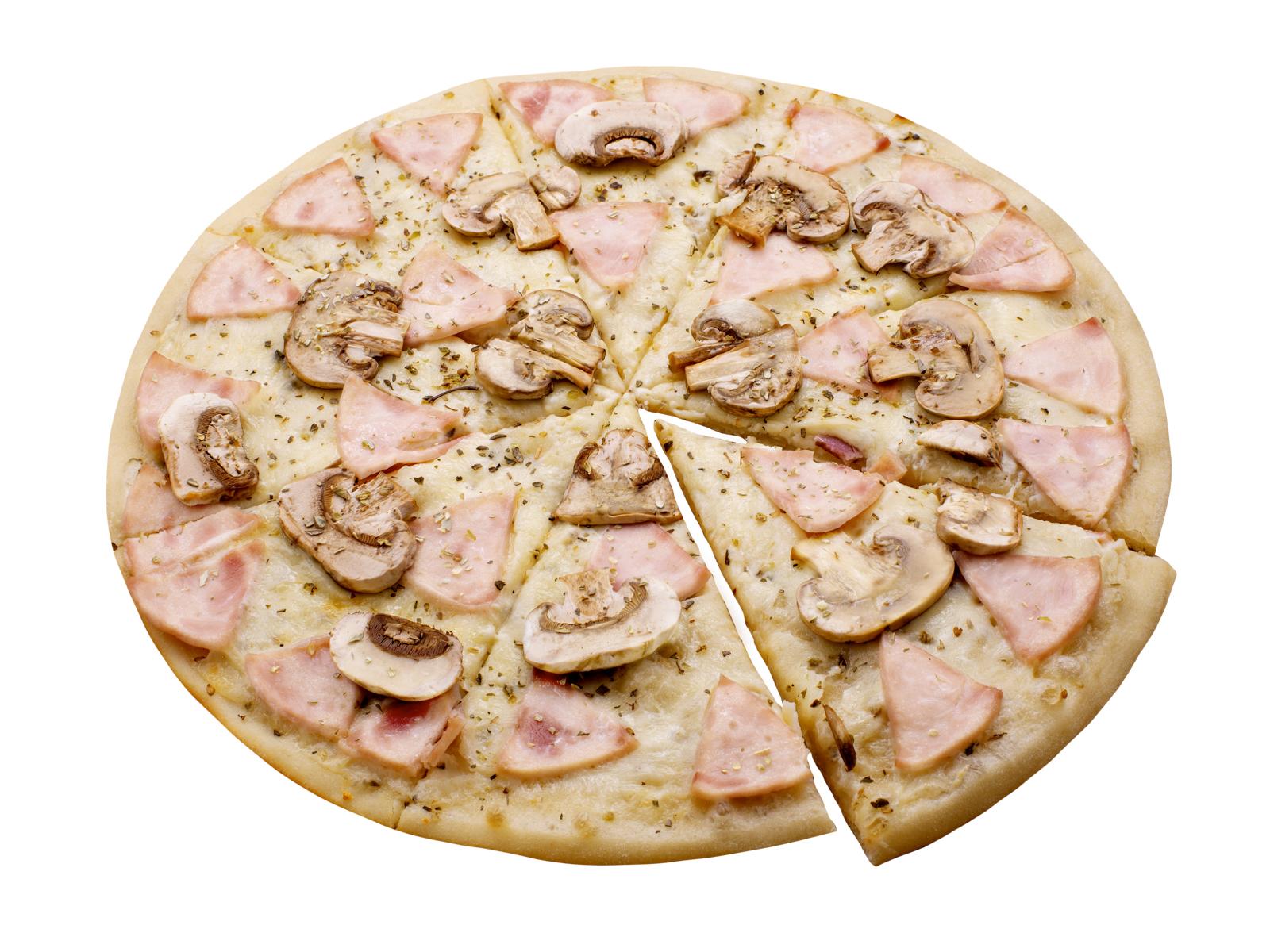 Пицца Ветчина с грибами в белом соусе
