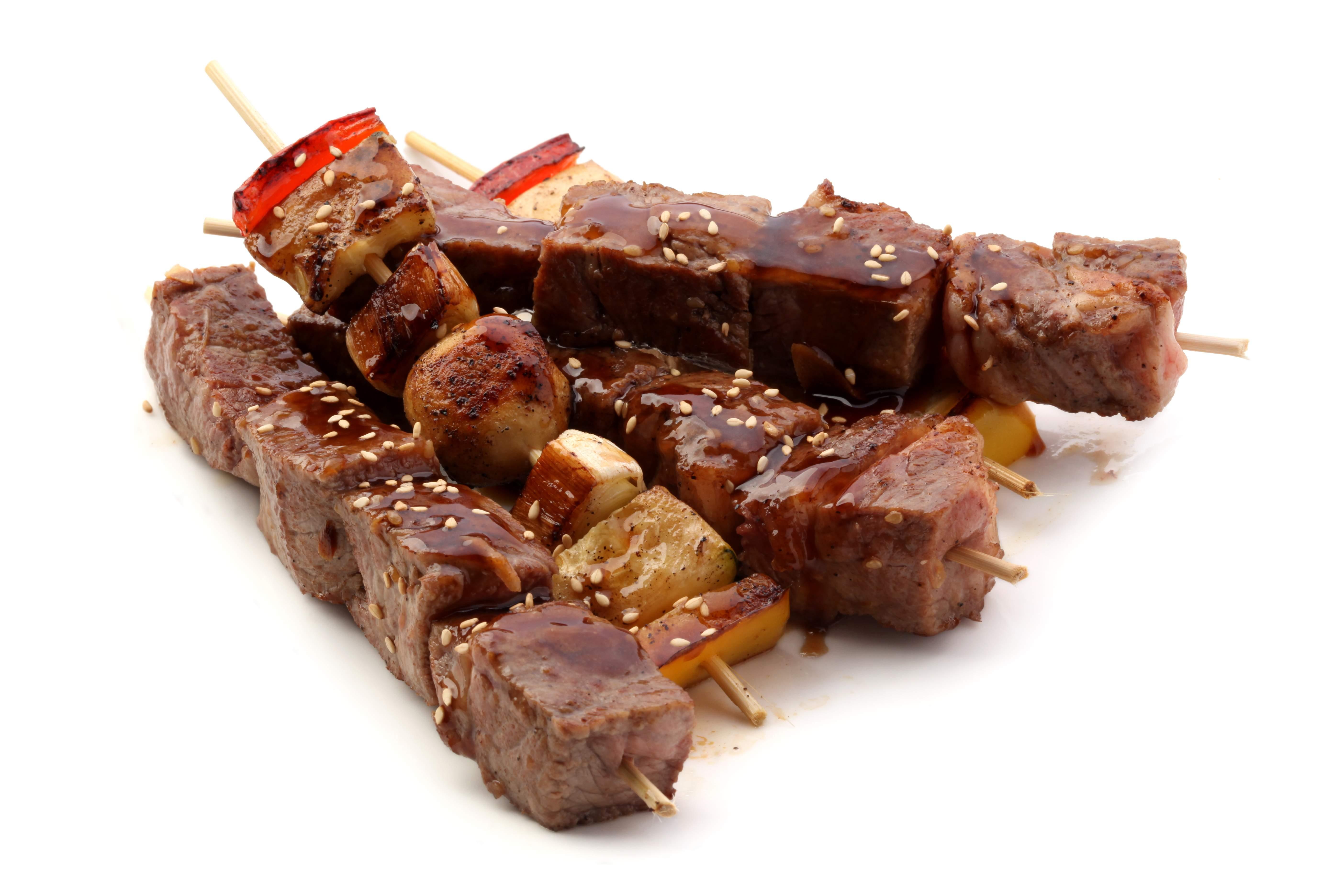 Шашлычок из говядины с овощами