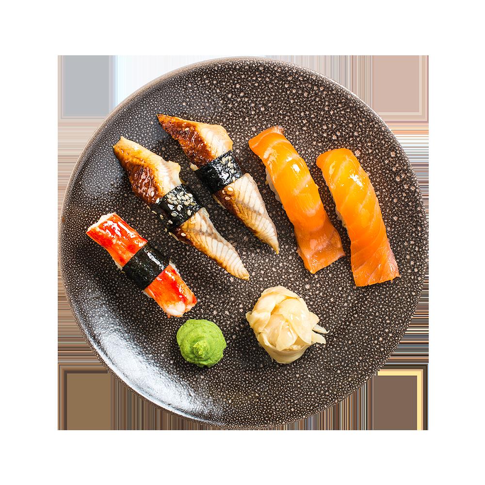 Суси-сет с крабом, копченым лососем и угрем