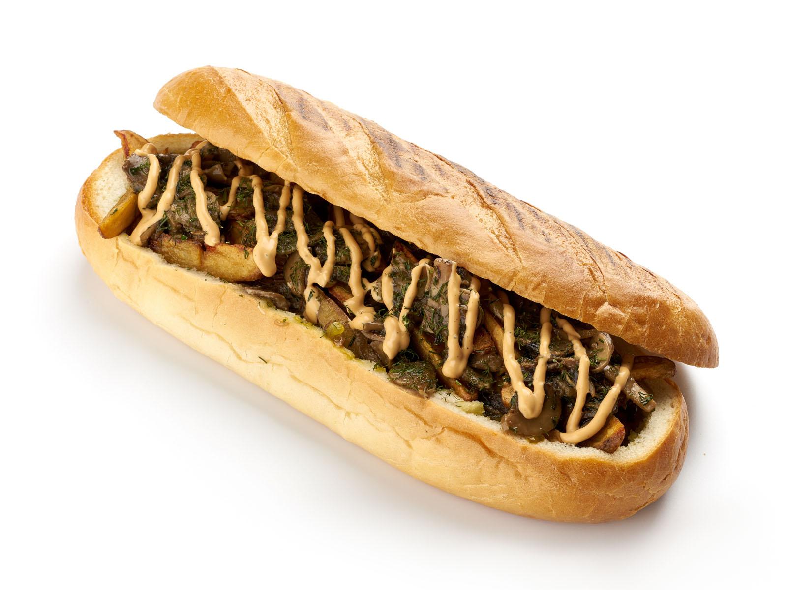 Багет с картошкой и грибами