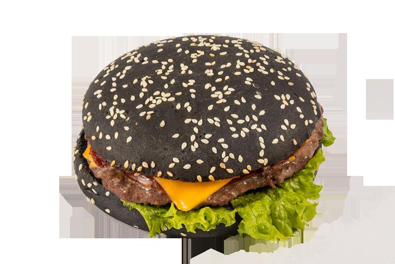 Японский гамбургер на черной булке