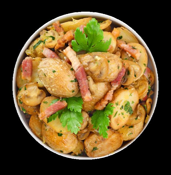 Картофель с грудинкой и чесноком