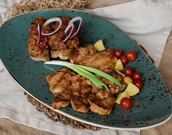 Шашлык из курицы с гарниром