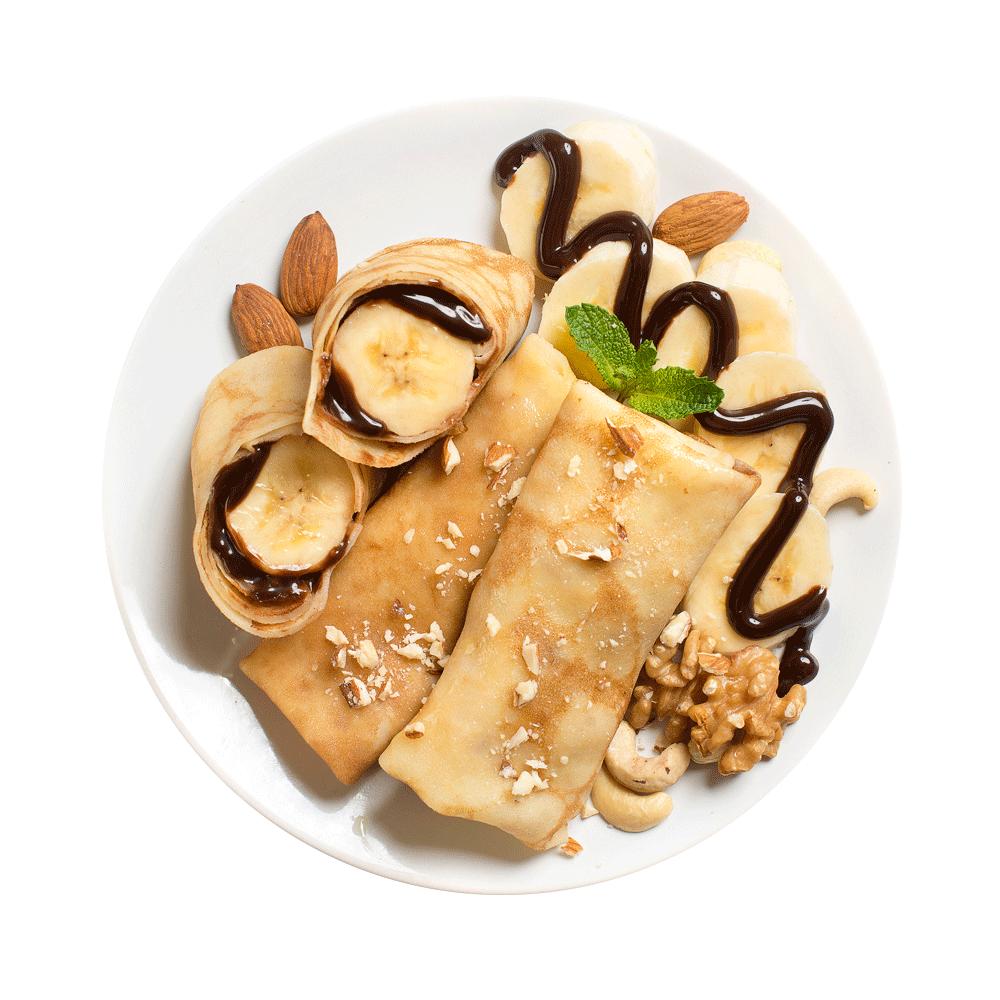 Блинчики с бананом и пастой из орехов и какао