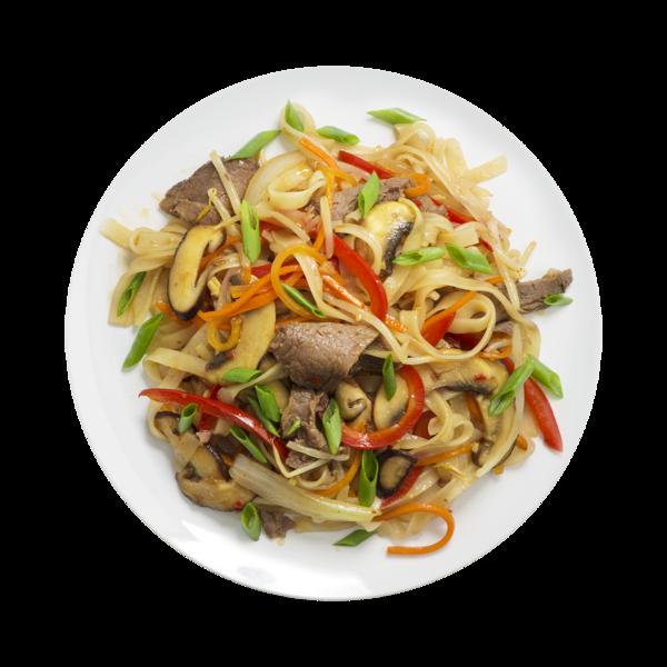 Лапша рисовая с говядиной и овощами