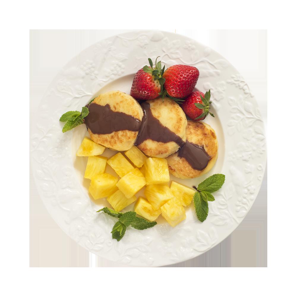 Сырники с шоколадно-ореховым топпингом и ананасом