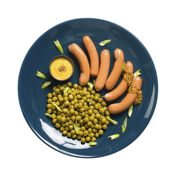 Сосиски с зеленым горошком
